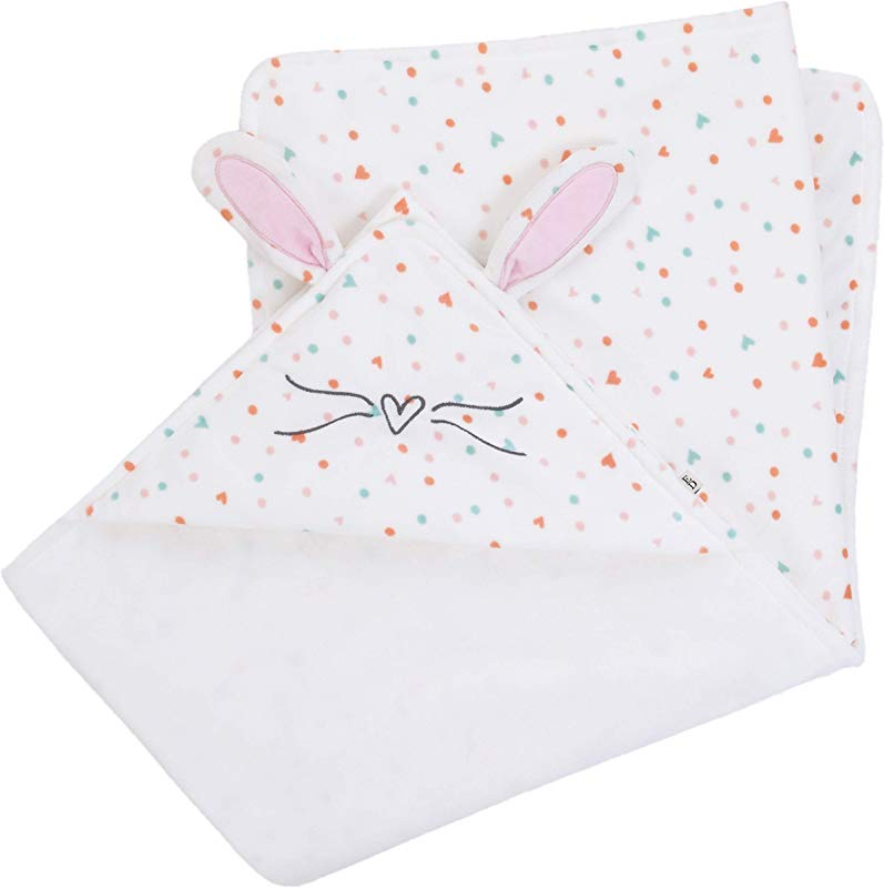ED Ellen DeGeneres Cotton Tail Soft Plush Multi Color Heart Print Hooded Bunny Baby Blanket With Dimensional Ears Whiskers White Rose Aqua Coral