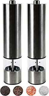 Electric Salt and Pepper Grinder Set - Battery Operated Stainless Steel Mill with Light, Pack of 2, Automatic One Handed O...