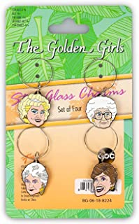 Golden Girls Wine Glass Charms - Set of 4 - Beverage And Drinking Accessories - Novelty Kitchen Cup Accessory - Fun And Unique Gift For Birthdays, Holidays, Bachelor And Bachelorette Parties