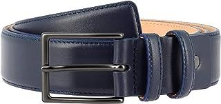 Nuvola Pelle Cintura da Uomo in Pelle Morbida made in Italy Elegante H 34mm con Fibbia in Metallo Blu da 120 cm