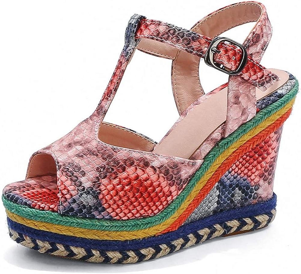Vimisaoi Boston Mall Wedge Sandals for Women Ankle Ranking TOP11 Multicolor Strap Espadri
