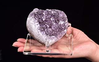 """AMOYSTONE Uruguay Raw Amethyst Geode Decor Purple Crystal Heart-Shaped 4"""" on Plastic Stand, Natural Cluster Chakra Stones ..."""