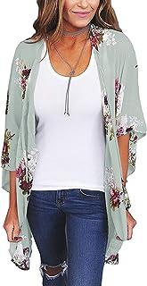 ChainJoy Women Chiffon Cardigan Sheer Loose Kimono Bohemian Floral Cover ups