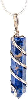 Raw Sodalite Crystal Pendant Necklace –for Intuition Sixth Sense Harmony Balance Inspiration Creativity - Authentic Stone on Silver Plated 18