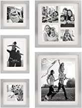 Stonebriar Decorative Stamped Silver 5 Piece Photo Frame Set, Wall Hanging Display, Modern Gallery Wall Set