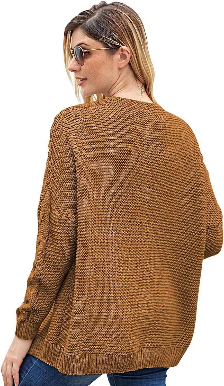 EARKOHA Women's Casual Chunky Wide Long Sleeve Ribbed Hem Knit Cardigan Sweater
