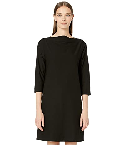 Eileen Fisher Washable Stretch Crepe Bateau Neck 3/4 Sleeve Knee Length Dress (Black) Women