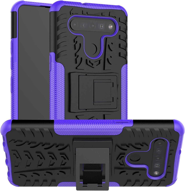 LFDZ Funda LG K51S,con Soporte Cáscara de Doble Capa de Cubierta Heavy Duty Silicona Caso Funda para LG K51S / LG K41S Smartphone(Not fit Other Models),Púrpura