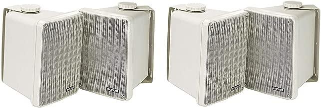 Kicker KB6 High Efficiency Speaker System 2 Way Full Range Weatherproof Outdoor Speakers | Indoor Speaker | 150 Watts Peak Power | Easy to Install Vertically or Horizontally | - Set of 4