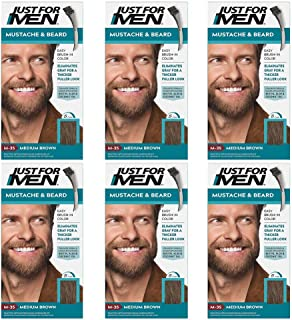 6 x Just For Men Barba y bigote Color permanente con pincel sin amoniaco castaño medio M-35 2 x 14 ml gel colorante
