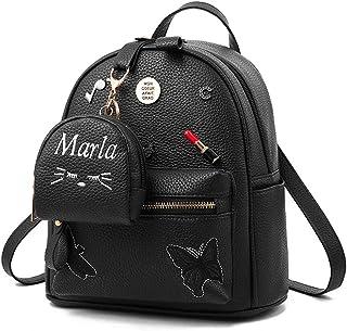 niñas mochila PU cuero escuela bolsas mochila lindo Bookbag monedero con pequeña cartera de gato negro