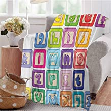 Educational Children's Blanket Colorful Lower Case Alphabet Blocks Cute Kids Font ABC Cartoon Style Typography Lightweight Soft Warm and Comfortable W60 x L70 Inch Multicolor