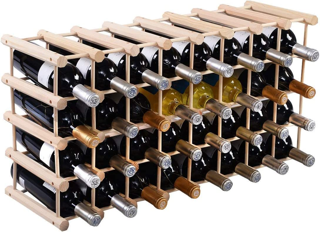 HAPPYGRILL Natural Wood Wine Rack 40-Bottle Stand Storage service Time sale W