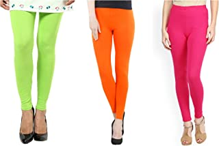 FashGlam Ankle Length Leggings Combo - Apple Green,Orange,Hot Pink