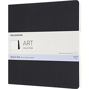 "Moleskine Art Sketch Pad, Soft Cover, Square (7.5"" x 7.5"") Plain/Blank, Black, 48 Pages"