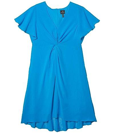 Adrianna Papell Plus Size Twist Front Gauzy Crepe Dress (Electric Blue) Women