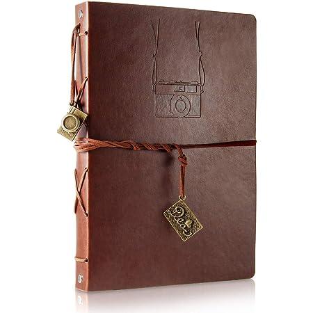ThxMadam Scrapbook Cuero Álbum de Fotos Libro de Visitas de Boda con 60 Páginas Negras Presentes para Regalo de Valentín Día de Aniversario Navidad Cumpleaños para Esposa Hija Madre (Cámara, Grande)