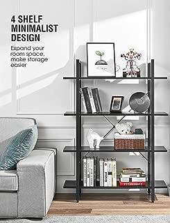 ORAF Bookshelf Industrial Bookcase 4-Tier,Solid 130lbs/Shelf Load Capacity,Open Shelf Organizer,Display Rack Metal Wood Storage Cabinet Home Office Furniture(Black)