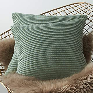 LHKIS Throw Pillow Covers 18x18 for Couch, Set of 2 Decrative Sofa Accent Cojines, Light Green