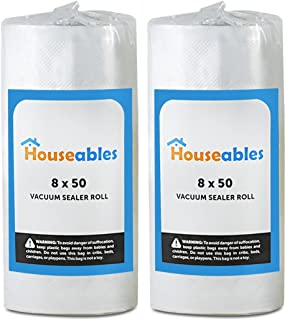 Houseables Vacuum Sealer Rolls, Sous Vide Bags, Two (2), Large 8 Inch x 50 Ft, Commercial Grade Plastic, Food Vac Storage & Seal, Airtight Vacuumsealer Saver, Microwave & Freezer Safe, Store A Meal