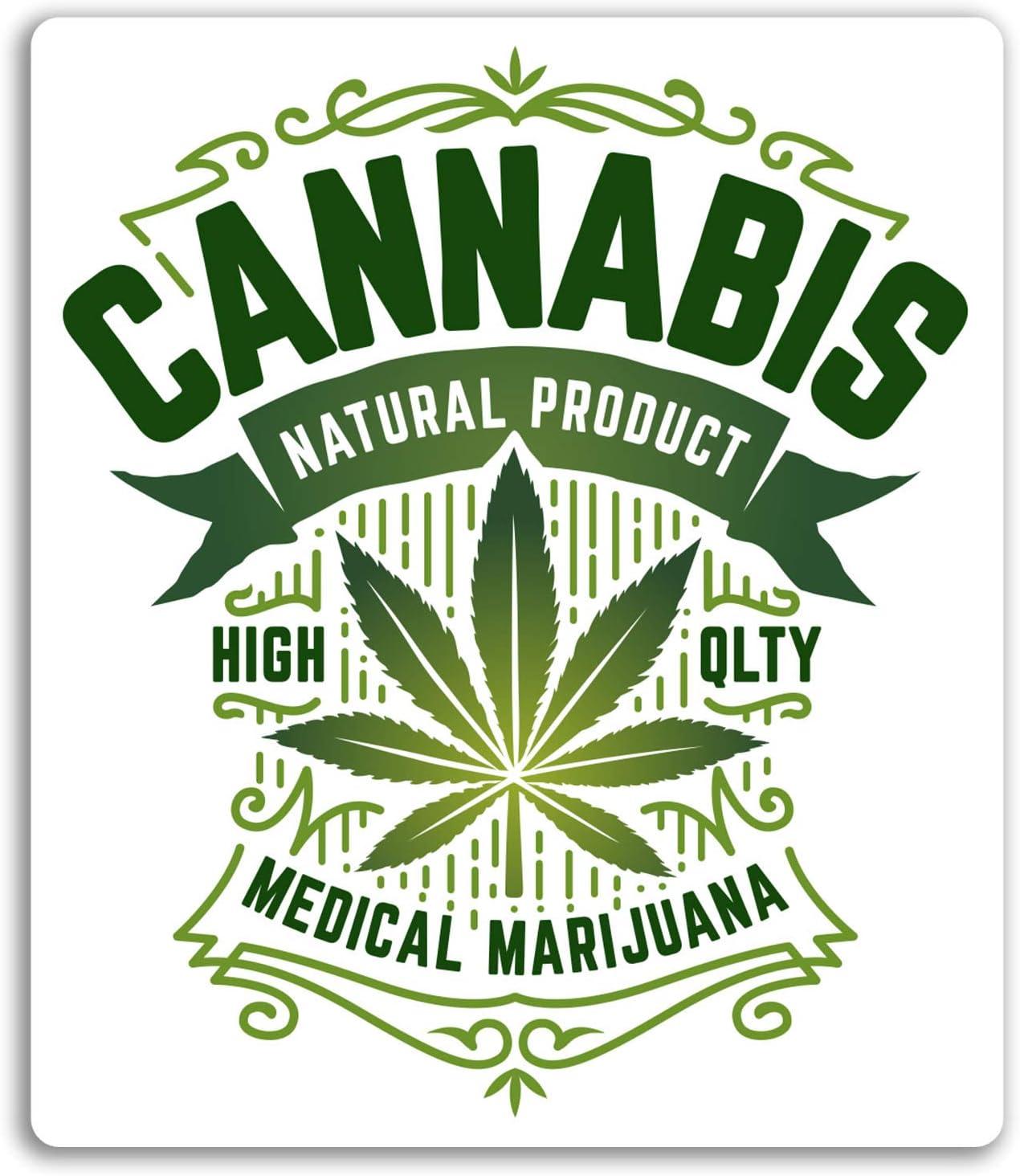 2 x 10cm Cannabis Vinyl Sticker Decal Leaf Laptop Medical Weed Marijuana #6264