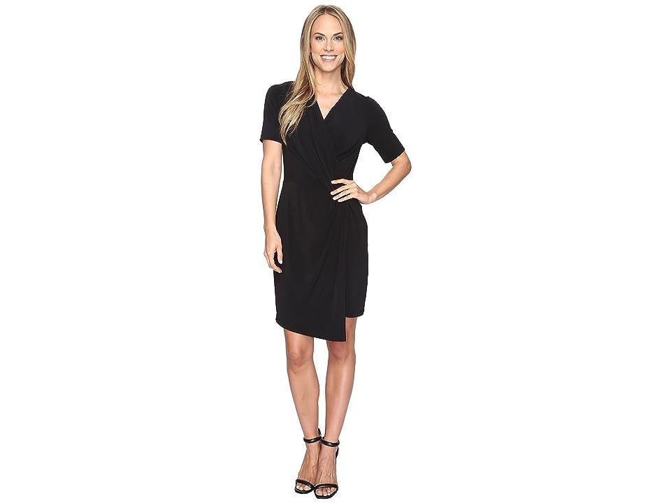 Karen Kane Crossover Drape Dress (Black) Women