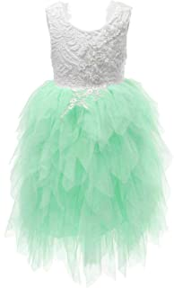 Flower Girl Beaded Peony Lace Tiered Tutu Tulle Party Dress Girls Maxi Dresses