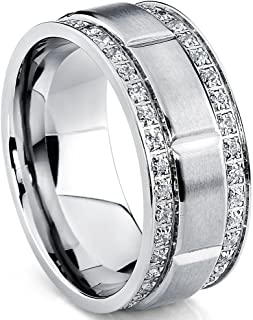 Metal Masters Co. Men's Titanium Wedding Band Ring with Double Row Cubic Zirconia, Comfort Fit Sizes, 9MM 8 to 12