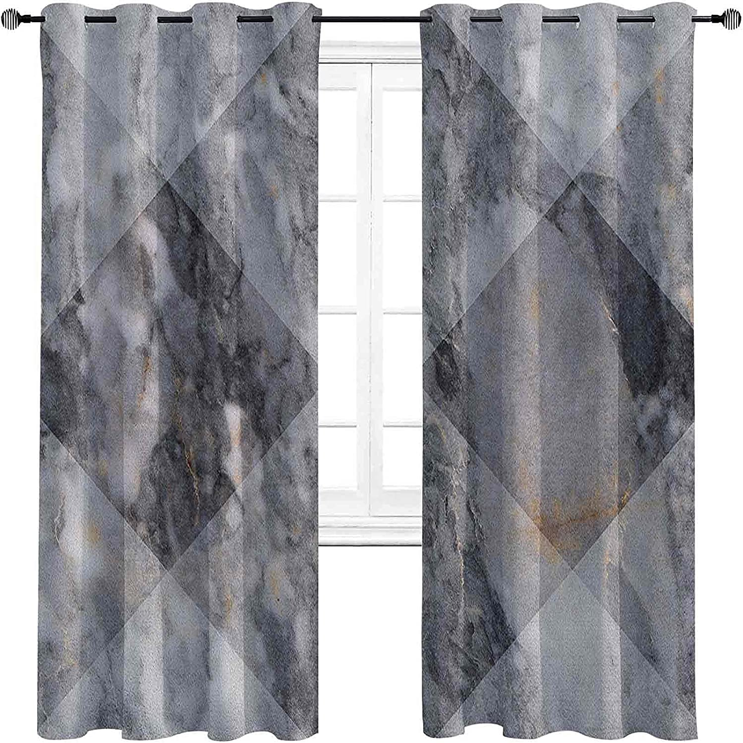 Marble Blackout Curtains security Direct store with Diamond Geometric Grommets darken