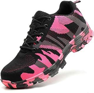 Heren Camouflage Veiligheidsschoenen, Anti-Smashing Anti-Stab Stalen Neus Sneakers Lichtgewicht Ademend Veters Antislip We...