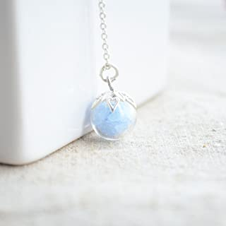 Blue Stone Luminous Glow in the Dark 0.39 inches Glass Ball Pendant 925 Sterling Silver Chain Necklace