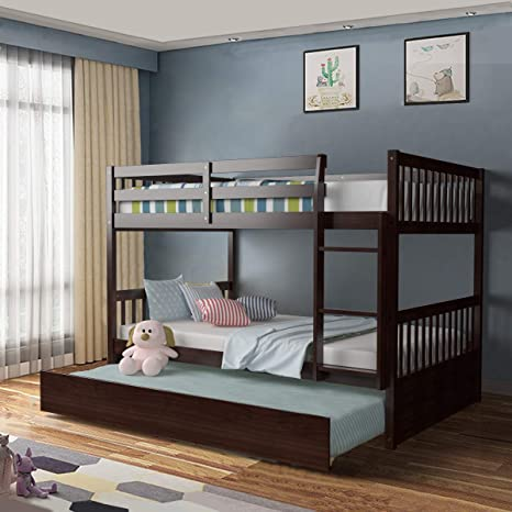 Amazon Com Giantex Bunk Bed With Trundle Full Over Full Bunk Beds With Ladder Solid Wood Trundle Bed With Rails Safety High Guardrails Convertible Bunk Bed For Kids Teens Brown Kitchen Dining