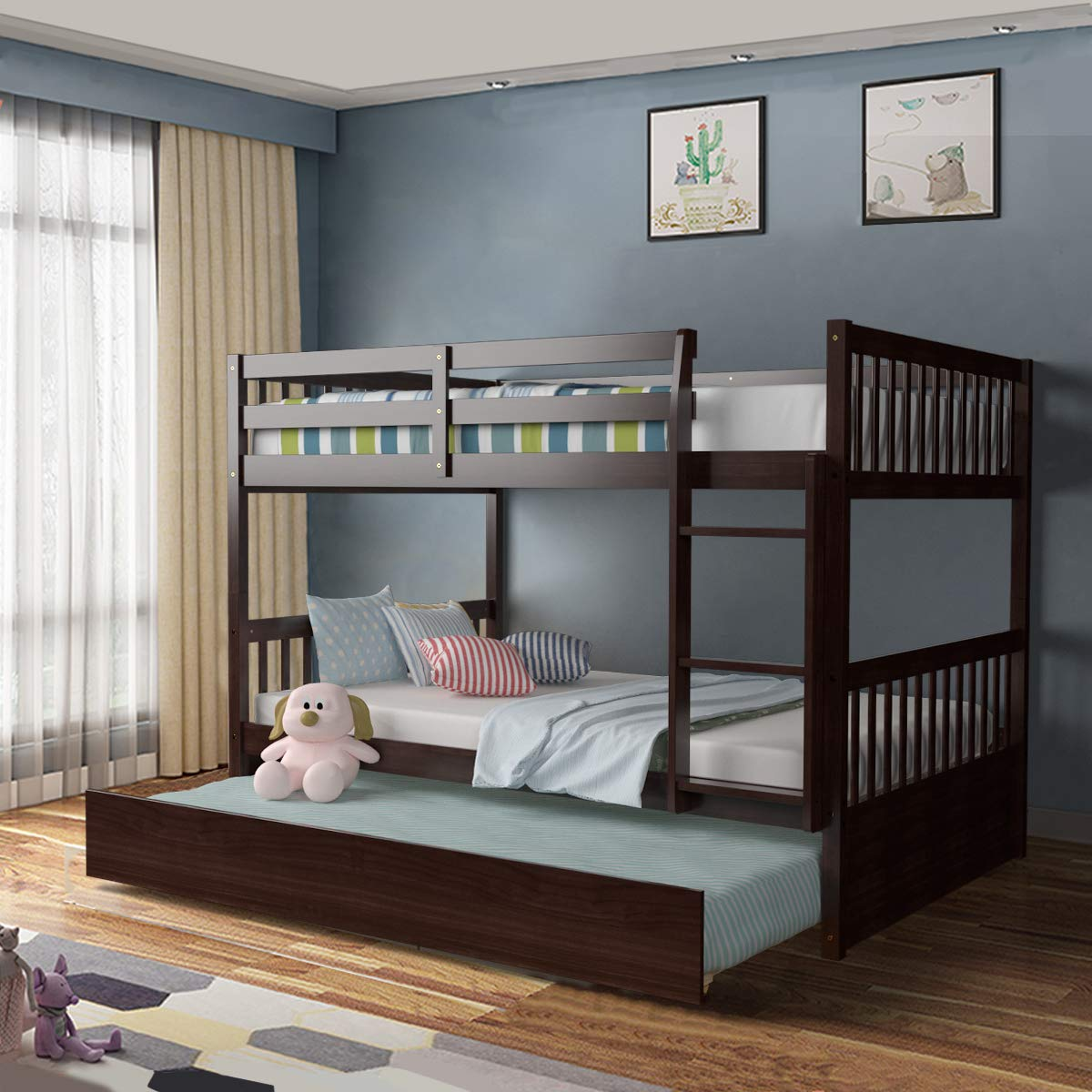 Giantex Bunk Bed with Trundle, Full Over Full Bunk Beds with Ladder, Solid Wood Trundle Bed with Rails, Safety High Guardr...