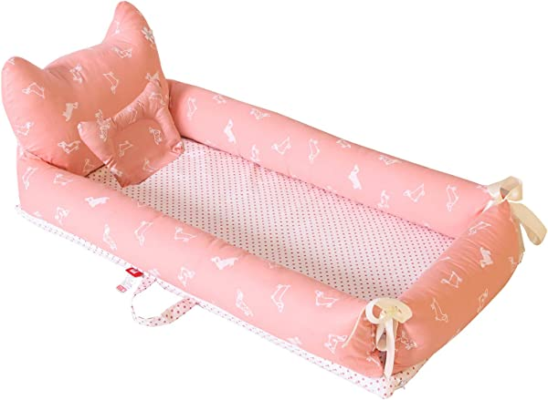 Abreeze Baby Bassinet For Bed Polka Dots Dog Pink Baby Lounger Breathable Hypoallergenic Co Sleeping Baby Bed 100 Cotton Portable Crib For Bedroom Travel Camping