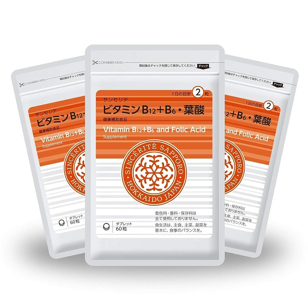 静けさ数学的なちらつきビタミンB12+B6?葉酸 3袋セット[送料無料][ビタミンB12]たっぷり1000μg配合 [国内製造]お得な★90日分