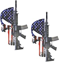 iJDMTOY (2) 8-Inch Punisher Skull Head US Flag & AR15 2nd Amendment Decal Stickers Set, Made w/Reflective Material For Car Truck Jeep Wall Window Laptop, etc