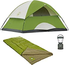 Bundle of 3 includes Sundome 4 Person Tent, Cool Weather Adult Sleeping Bag, and LED Camp Lantern
