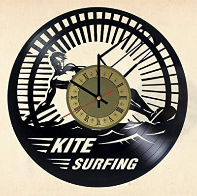 Kitesurfing Vinyl Clock | Kiteboarding | Best Gift Recreation Fans | Original Wall Home Decor