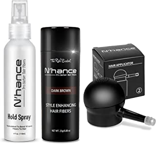 The Rich Barber N'Hance Hair Fibers, Hold Spray & Applicator Set | Natural Concealing Hair Thickening Fibers | All Day Wear For Sharper Hairlines, Thicker Beard, Professional Styling (Dark Brown)
