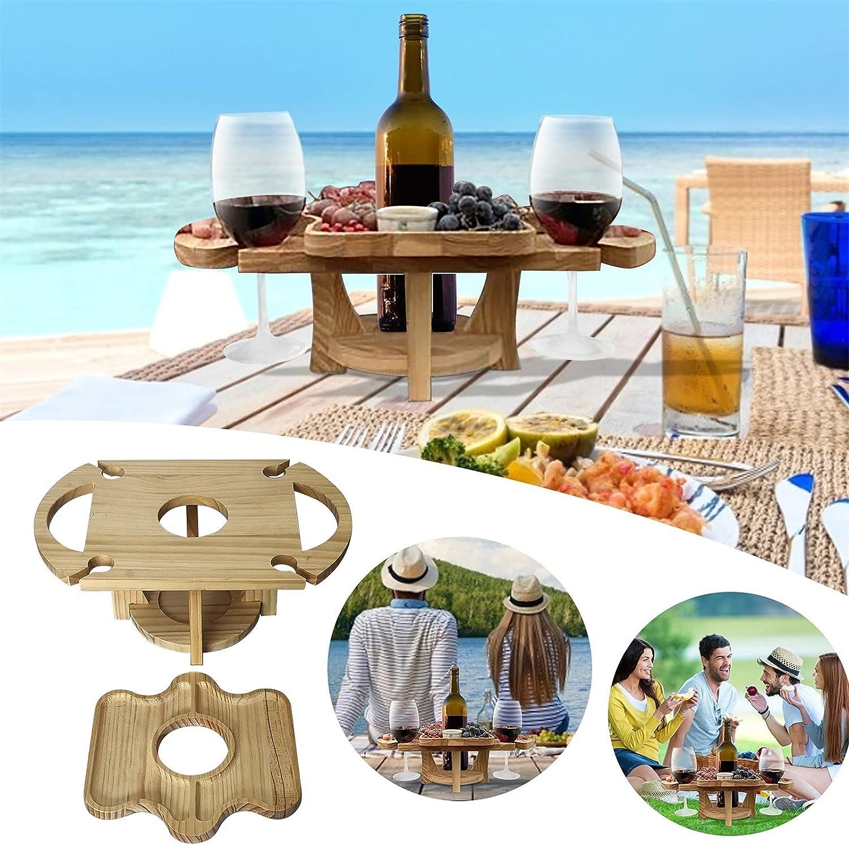Mesa portátil para vino al aire libre con soporte para botellas, mesa pequeña de playa, mesa de picnic, mesa de madera, mesa de terraza para exteriores