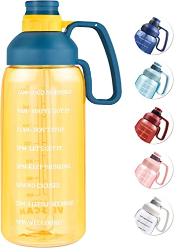 64 OZ Water Bottle with Straw, Motivational Water Bottle with Time Marker Large Water Bottle with Handle, 2L Sports W...