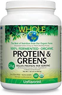 Whole Earth & Sea from Natural Factors, Organic Fermented Protein & Greens, Vegan Superfood Powder, Unflavored, 1.41 Lbs