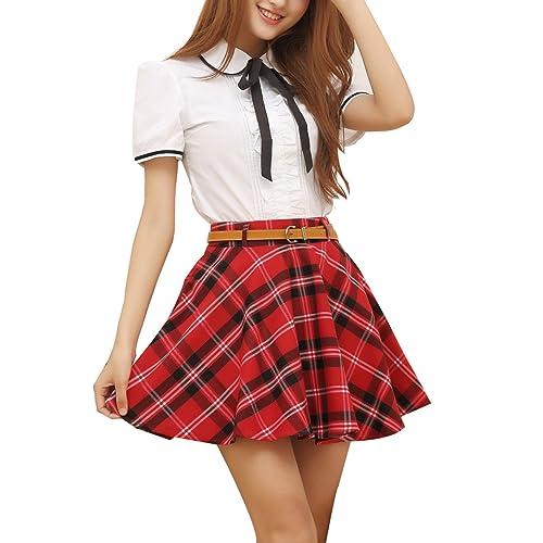 1fd696119f Gihuo Women's Plaid Skirt School Uniform Pleated Mini Tartan Skirt