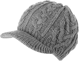 50%/100% Wool Newsboy Cap Winter Hat Visor Beret Cold Weather Knitted