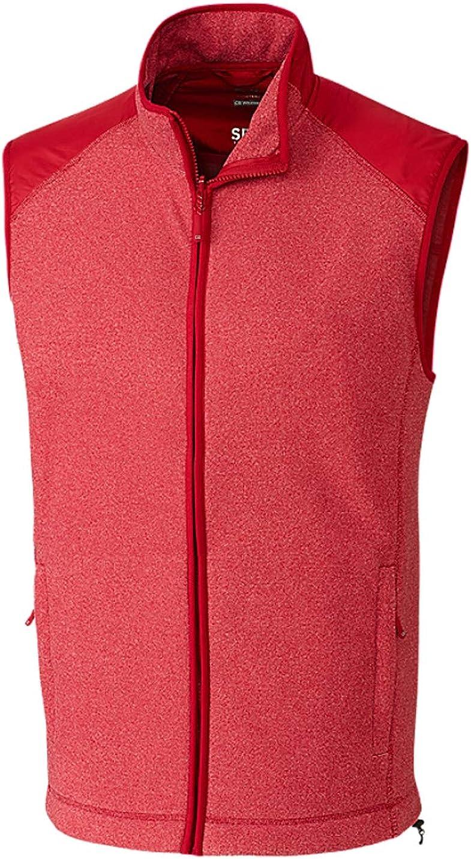 Cutter & Buck Men's Cedar Park Full Zip Vest, Cardinal Red Heather - 3XT