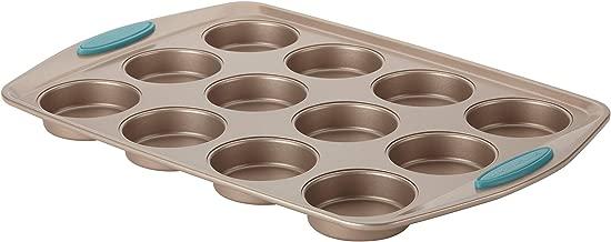 Rachael Ray Cucina Nonstick Bakeware 12-Cup, Latte Brown, Agave Blue Handle Grips (Renewed)