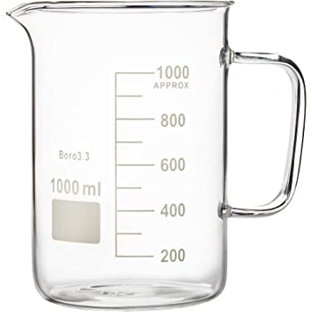 Labnique Glass Beaker with Handle, Measuring Cup, Beaker Mug with Pouring Spout, 1000ml (33.8 oz / 4.2 Cups)