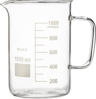 Microyn Glass Beaker with Handle, Measuring Cup, Beaker Mug with Pouring Spout, 1000ml (33.8 oz / 4.2 Cups)