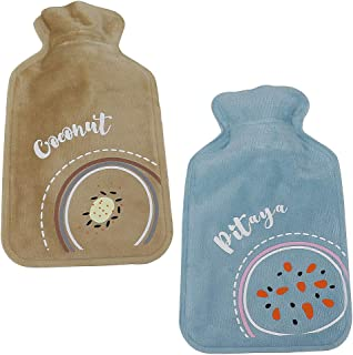 Mini Hot Water Bottle, with Fleece Warm Water Bag, 2Pcs Portable Adult/Lovely Children's Hand Warmers, Great for Relieve Muscle Aches & Pains, Menstrual Pain Relief Warm Bag(350ML)
