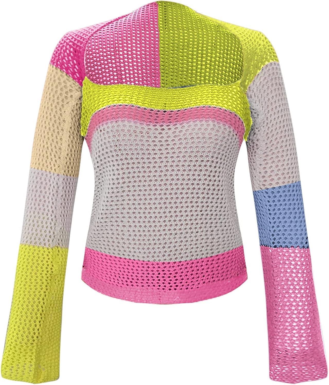 Women Crop Sweaters Tie-dye Cardigan Button Down Sexy Y2k Long Sleeve Ladies Slim Color Block Soft Blouse Tops